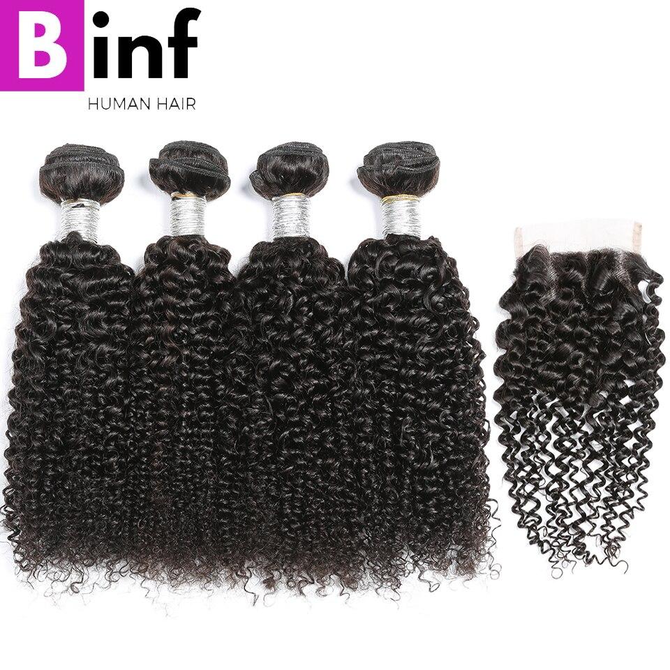BINF บราซิล Kinky Curly Hair 4 กลุ่มที่มีการปิด 100% มนุษย์ผมปิด Non Remy สี 1B-ใน 3/4 ช่อพร้อมส่วนปิด จาก การต่อผมและวิกผม บน AliExpress - 11.11_สิบเอ็ด สิบเอ็ดวันคนโสด 1