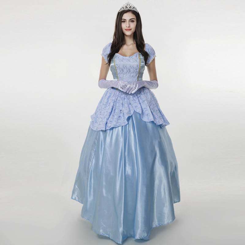 Newest Light Blue Cinderella Dress Girls Cosplay Costume Party Dresses Delux Court Princess Dress With Crown