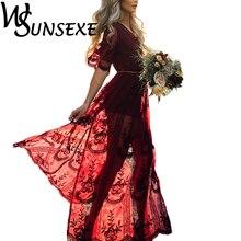 Лето 2017 г. Для женщин длинные платья ретро Boho Макси платье сексуальный элегантный глубокий Vneck Цветочные Пляжные наряды с Пояса для дам Vestido