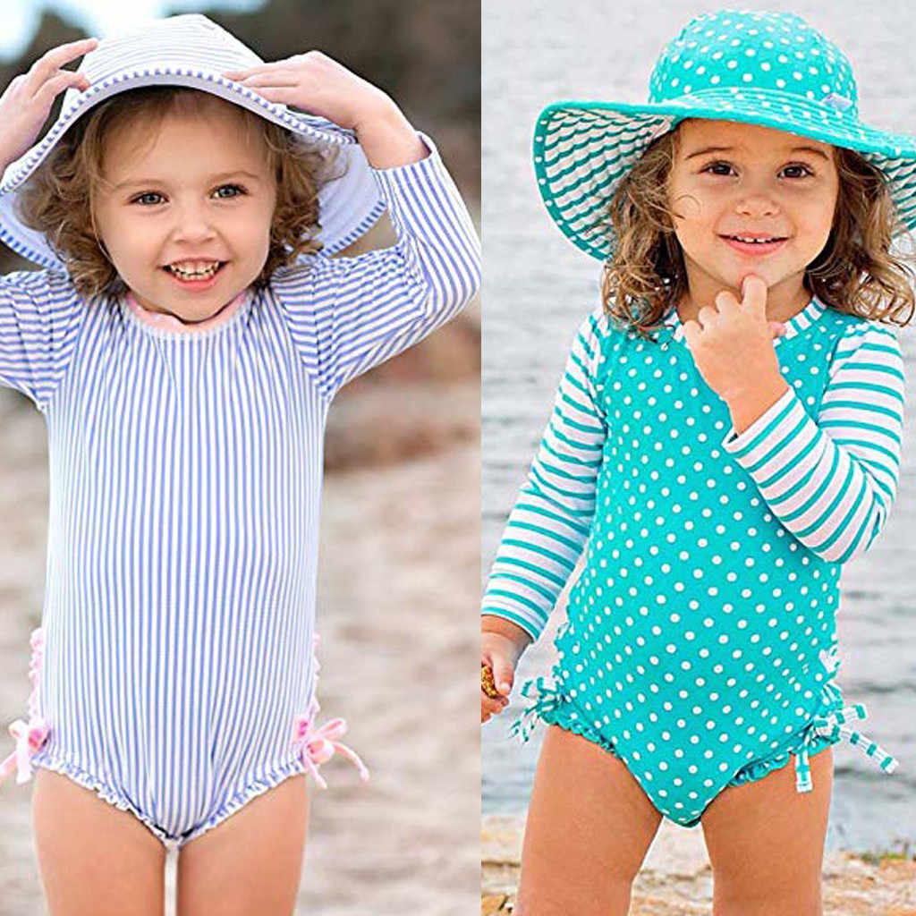 MUQGEW Kids Baby Girl Dot Striped Swimsuit with Sun Protection Swimwear beachsuit girl swim suit summer dress baby suit baby