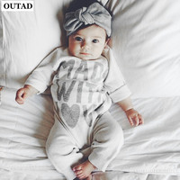 OUTAD Lovely Baby Romper Jumpsuit Heart Printed Kids Boys Girls Warm Infant Bodysuit Cotton Clothes Comfortable