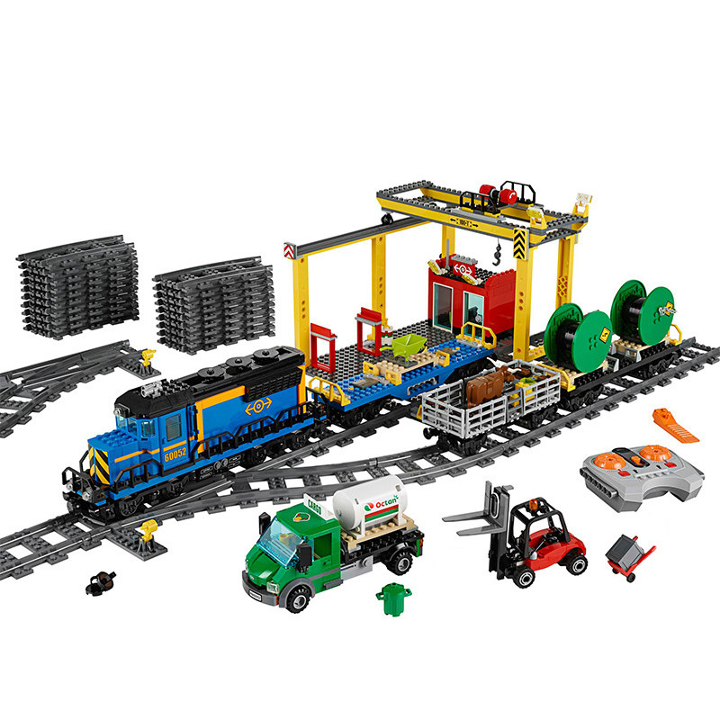 Diy 02008 City Serie the Cargo Train Set RC Train Building Blocks Bricks Toys for Boys Compatible with 60052 for Children Gifts cargo train model block toys city rc train birthday gifts for children compatible lepin technic series building blocks set 02008