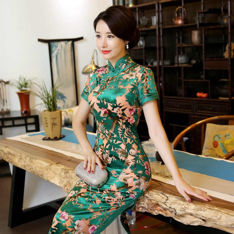 45c9690df ... Green Chinese Style Women's Velvet Cheongsam Qi Pao Short Sleeve Flower  Qipao Evening Dress Long Dresses ...