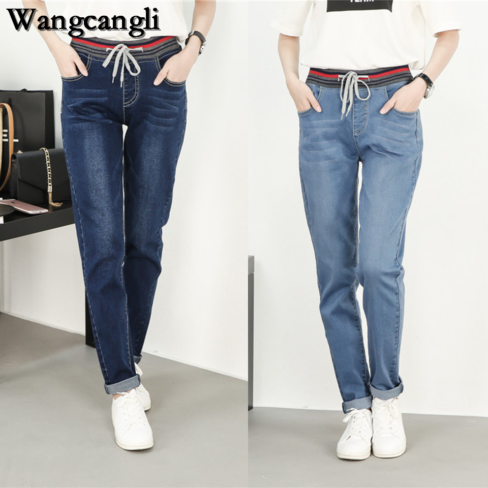 wangcangli 2017 Hot women big Jeans with high waist pants Large Size of Ladies elasticity jeans blue Loose women's jeans XL-5XL kiind of new blue women s xl geometric printed sheer cropped blouse $49 016