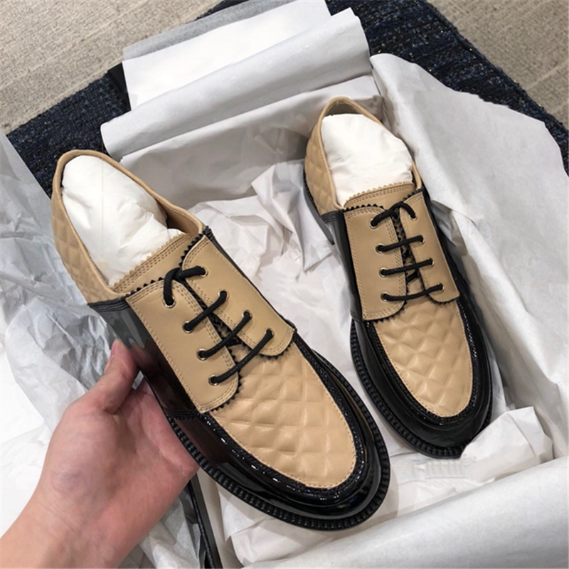 2018 British Styles Nude Black Leather Mixcolros Oxfords -3958