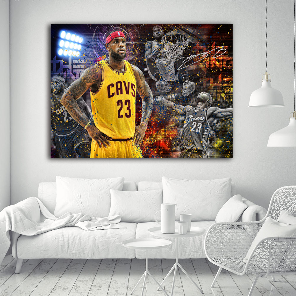 Canvas print wall art big poster LeBron James nba mvp Cavaliers king dunk wev