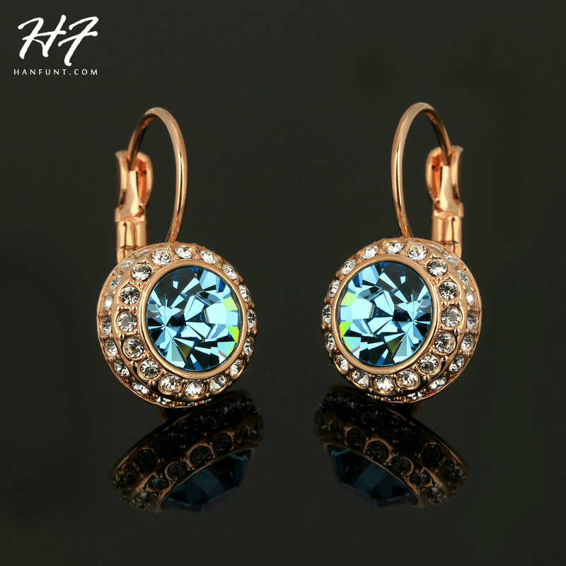 Top Quality Blue Moon River Rose Gold Color Drop Earrings Genuine Austrian Crystal Wholesale E074 ...