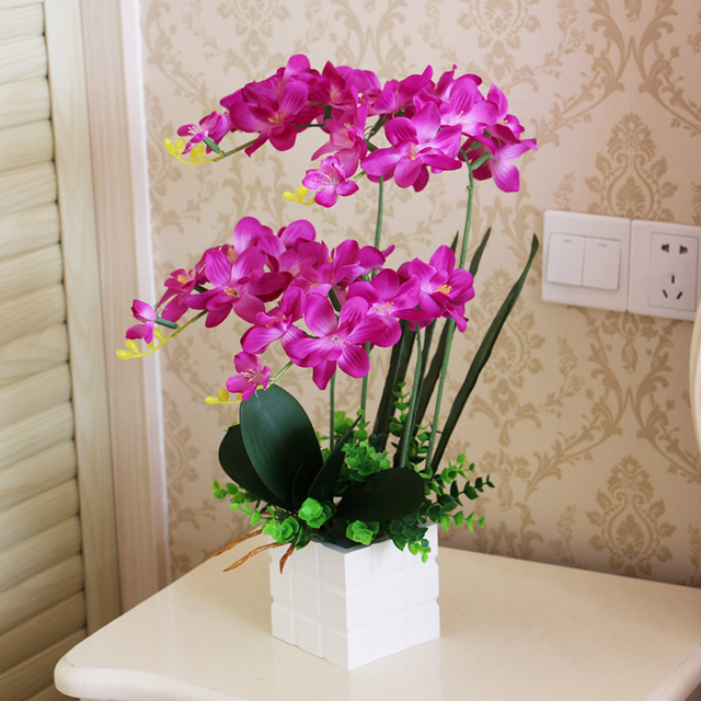 1 Set 4 Color Flower Vase Artificial Orchid Silk Cloth Flower White