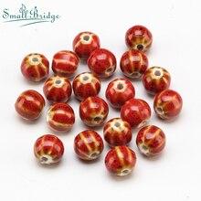 12mm Vintage Flower Glaze Round Ceramic Beads For Jewelry Making Bracelet DIY Material Loose Watermelon Porcelain Bead Wholesale