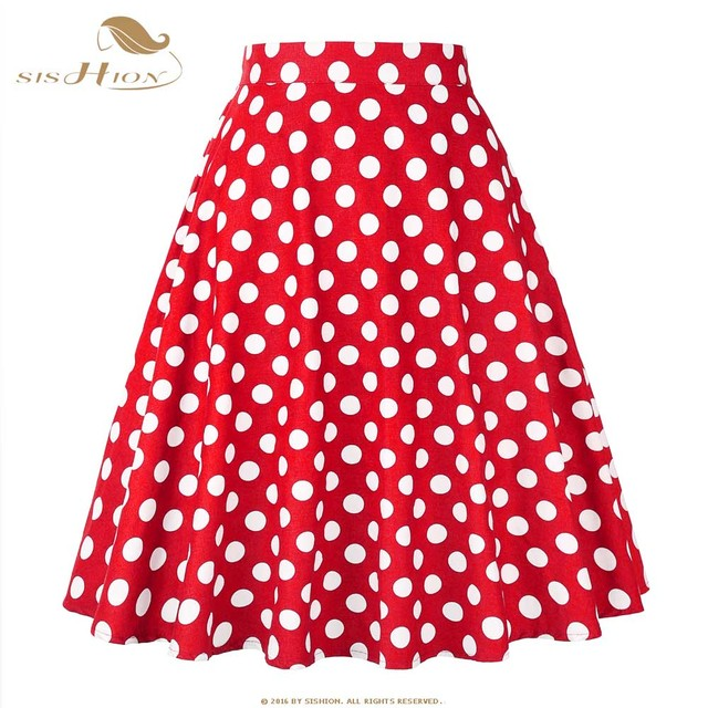33e4327f0456 SISHION Cotton Polka Dot Skirts 2019 High Waist Women Cotton Red with White Dots  Swing Retro