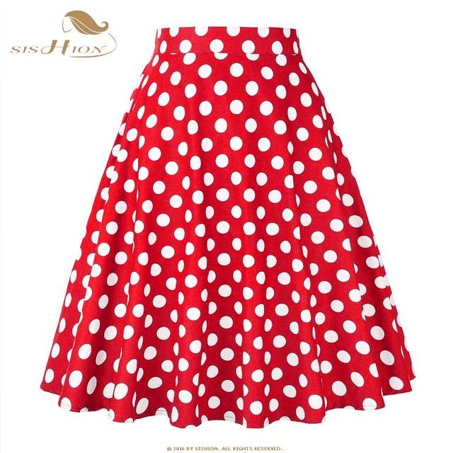 SISHION Cotton Polka Dot Skirts 2019 High Waist Women Cotton Red with White  Dots Swing Retro Swing Vintage Midi Skirts VD0020-in Skirts from Women s ... c381146e5514