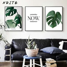 NDITB Tropical Decoration Plant Leaf Canvas Posters Quotes Wall Art Prints Nordic Style Painting Picture Modern Home Decor