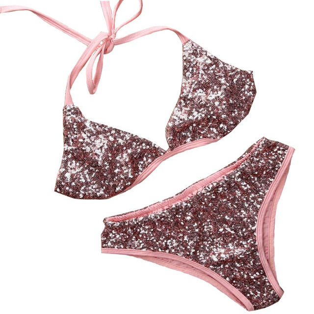 92ed2367e1b US $19.79 10% OFF|Sexy Micro Bikinis Set Bling Sequin Women Swimwear Halter  Brazilian Bikini Beach Bathing Suits Push Up Swimsuit Club Party Swim -in  ...