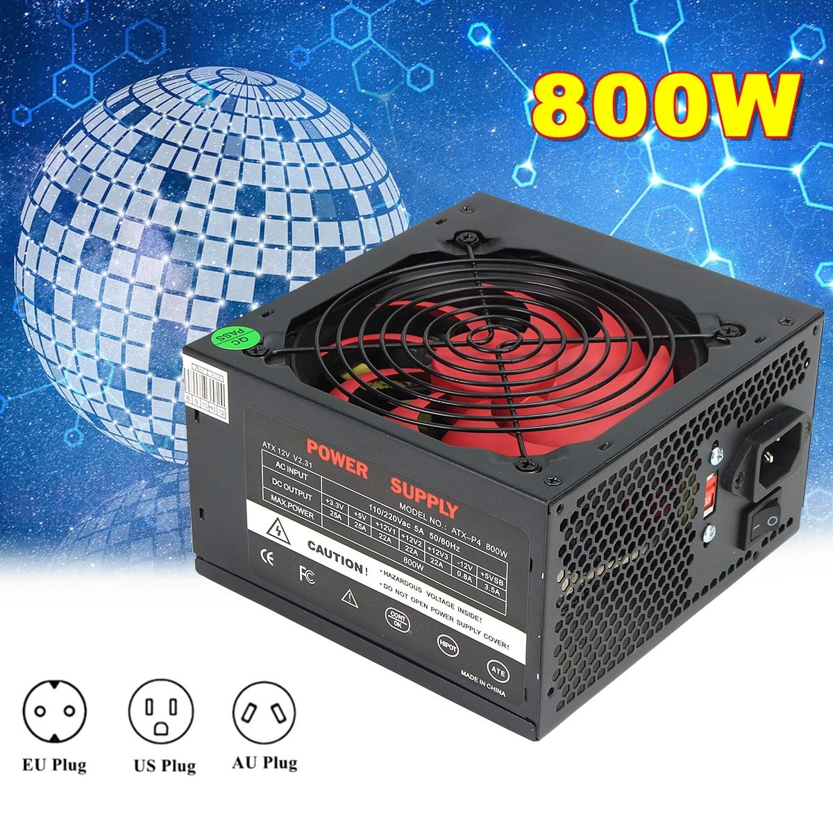 все цены на Black 800W 800 Watt Power Supply 120mm Fan 24 Pin PCI SATA ATX 12V Molex Connect Computer Power Supply 80+Gold онлайн