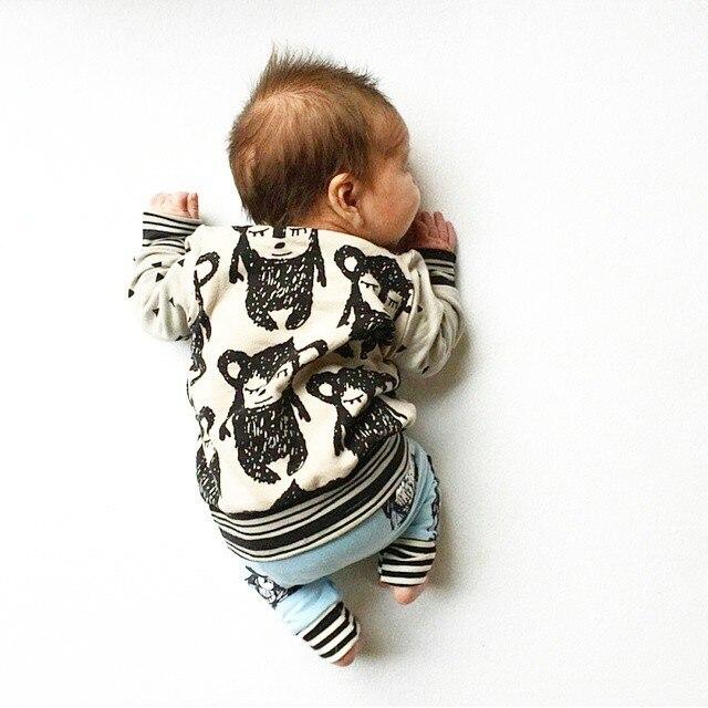 Весной и осенью ребенок мультфильм обезьяна мальчики и девочки хлопка толстовки дети мода довольно милый кофты