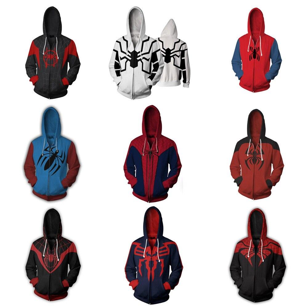 Ultimative Spider-Man Kostüm Peter Parker Sweatshirts Cosplay 3D Digital Print Spiderman Mit Kapuze Langarm Reißverschluss Sweatshirt