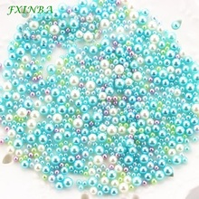 FXINBA 500Pcs/lot Fishbowl Beads Slime Supplies DIY Glitter Filler Fluffy Decoration A-B Color Gradient Pearls Toys
