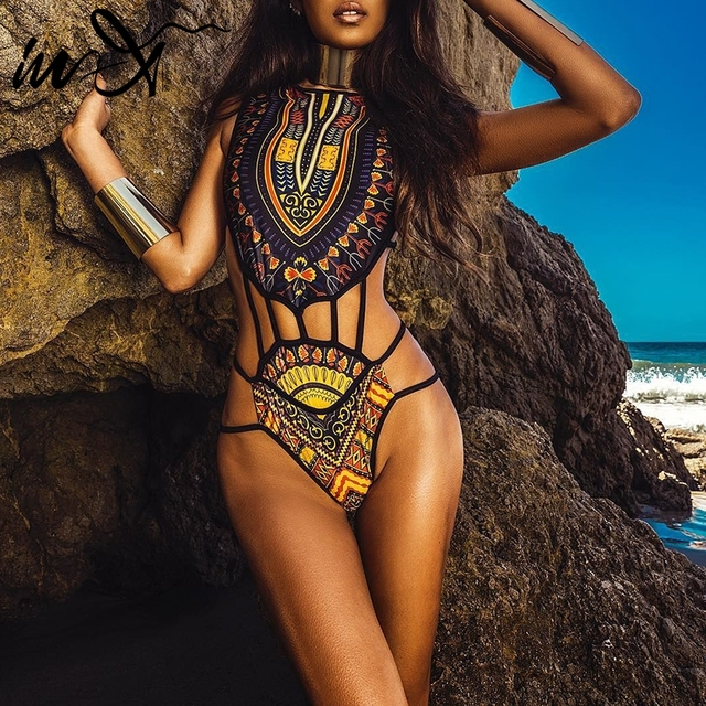In X African sexy one piece suits New bikini 2019 Bandage swimsuit female monokini Print swimwear High cut bathing suit XXL new