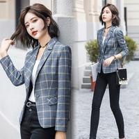 2019 Fashion Plaid Blazer Coat Ladies Blazer Long Sleeve Jacket OL Business Suit Coat Jacket Women blazers Female