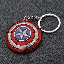The Avengers Captain America Keychain Superhero Star Shield Pendant Keyring Car Key Chain Accessories Batman Marvel Chains
