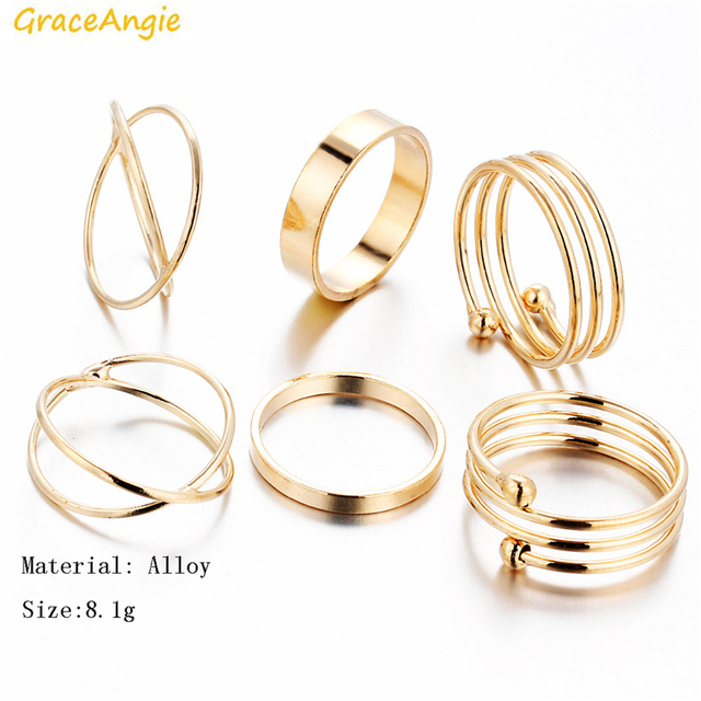 GraceAngie 6PCS/Set Gold Color Alloy Rings Trendy Stylish Jewelry Finger Tail To