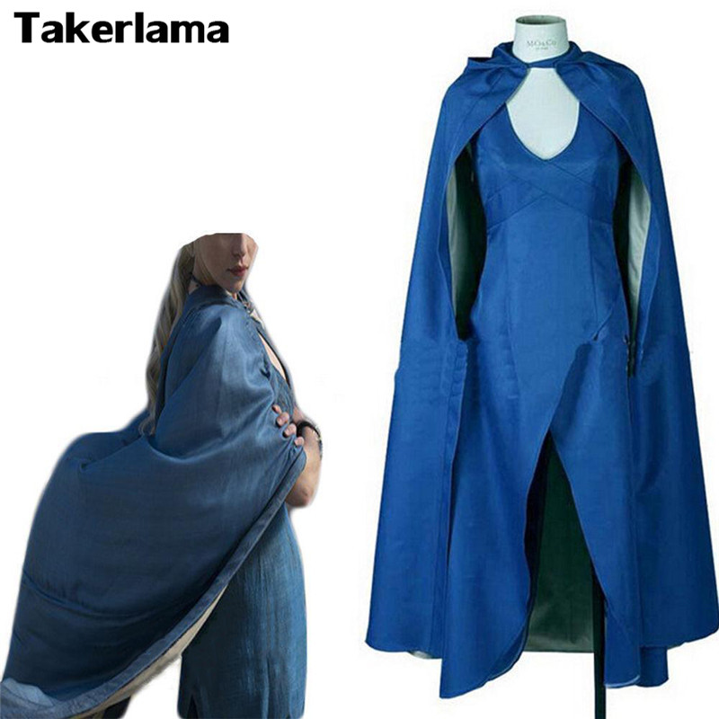 Takerlama Game of Thrones Daenerys Targaryen Costume Blue Dress Cloak A Song Of Ice And Fire Movie Cosplay Halloween Costumes