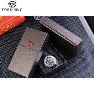 Image 5 - Forsining כסף שלד שעוני יד שחור אדום מצביע שחור אמיתי חגורת עור אוטומטי שעונים לגברים שעון שקוף