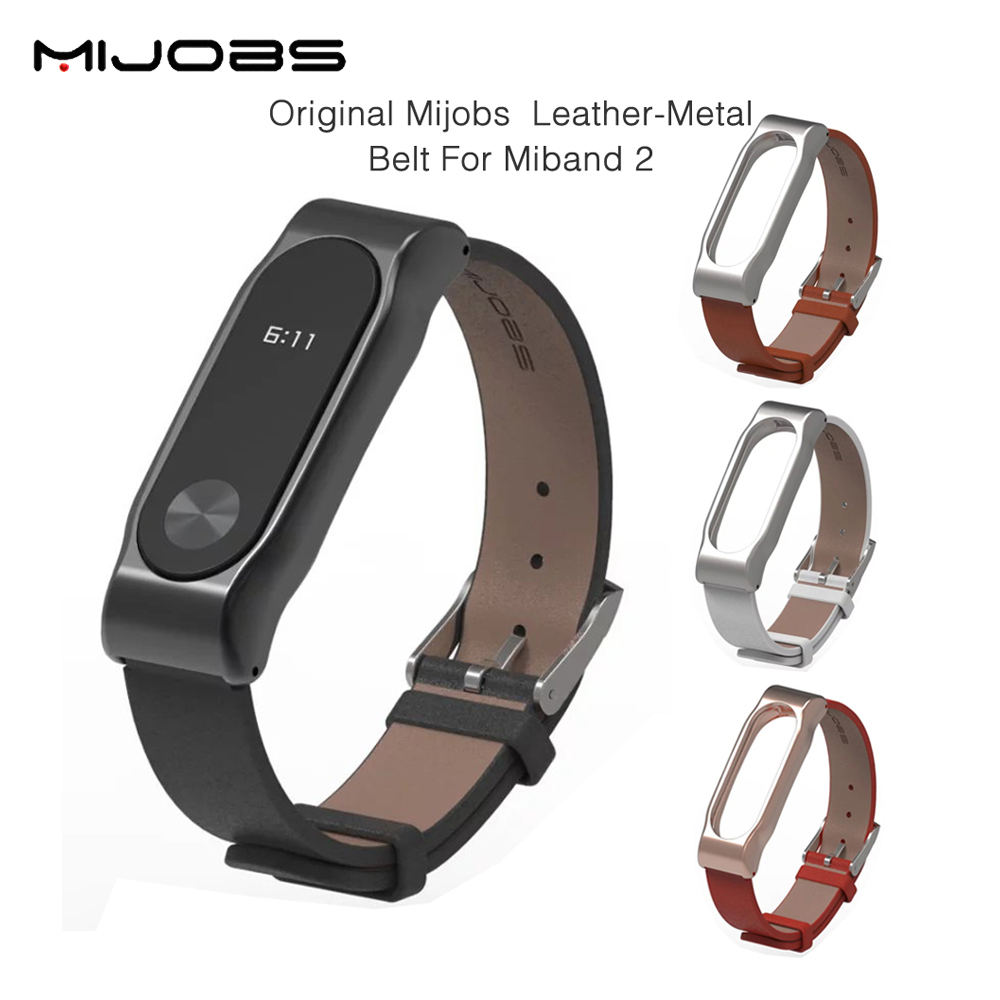 Original Mijobs Strap For Xiaomi Mi Band 2 Metal Leather Belt Bracelet For MiBand 2 Wristbands Replace Accessories For Mi Band 2 strap