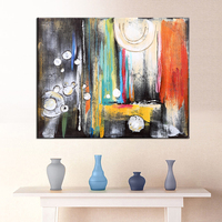 Hand Painted Modern Abstract Black White Oil Painting Colorful Wall Decorative Canvas Art Pictures for living room Home Decor