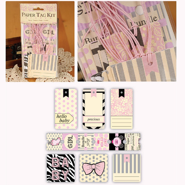 Eno Greeting Cute Paper Tag Kit For Baby Girls Decorative Gift Wrap