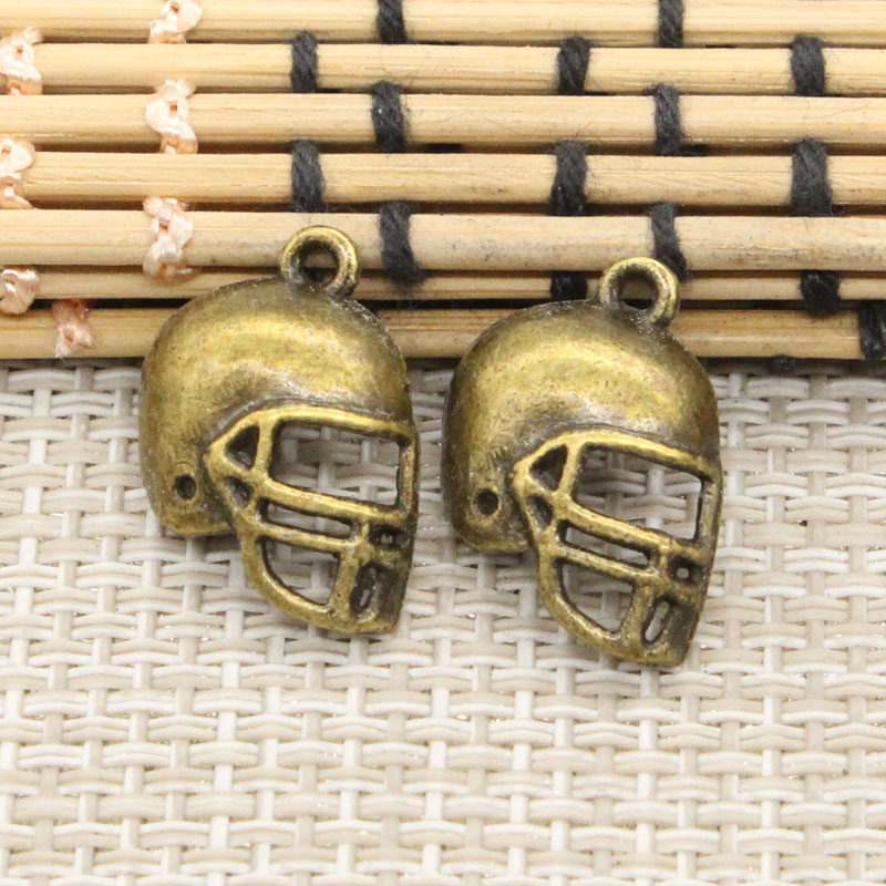Charms Football helmet 40pcs Size:20*15mm No:GT04631 DIY Retro Jewelry Accessories Zinc Alloy Antique bronze