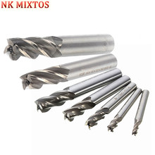 цены High Quality 7pc 4 6 8 10 12 16 20mm HSS Straight Shank 4 Flutes End Mill Milling CNC Cutter Drill Bits Offers