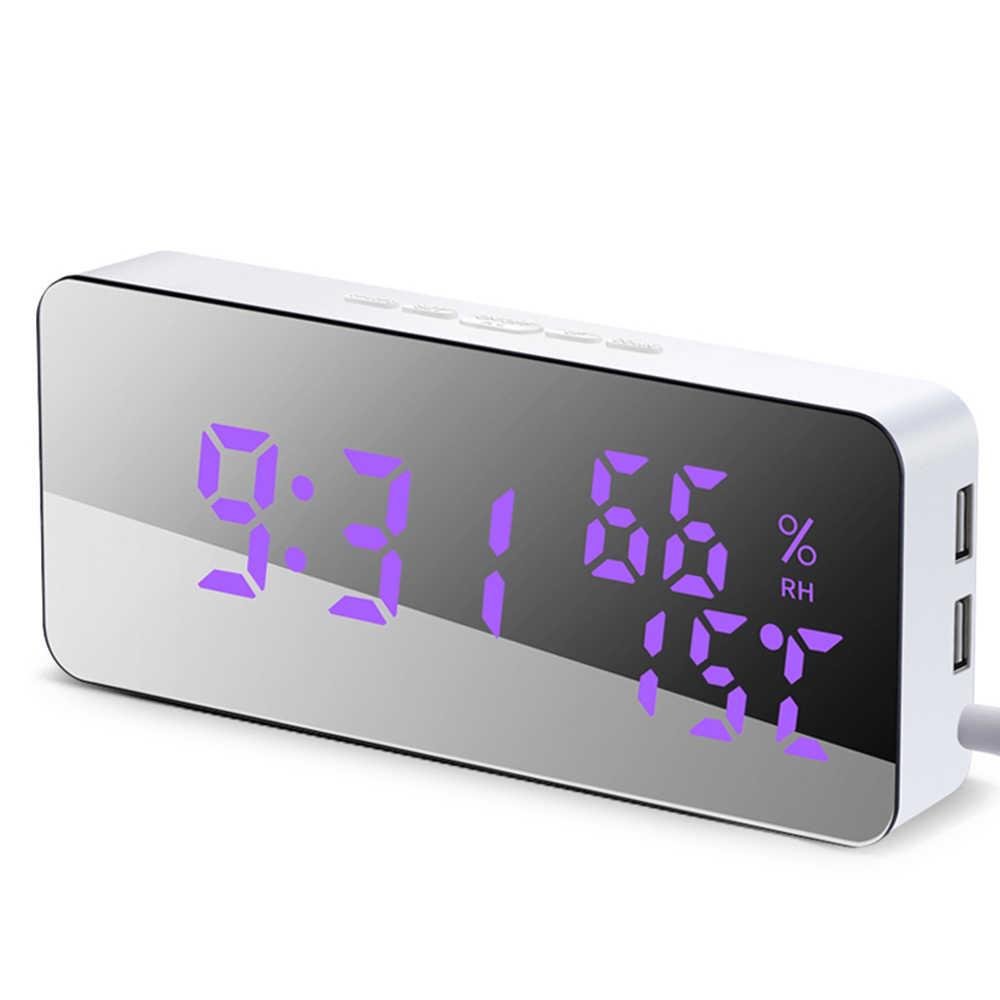 LED Mirror Alarm Clock Digital Snooze Alarm Clock Electronic Time Calendar Temperature Display Clocks Multifunction Home Clocks