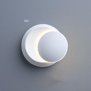 Image 4 - QLTEG 5W LED Wall Lamp 360 degree rotation adjustable bedside light 4000K Black creative wall lamp Black modern aisle round lamp