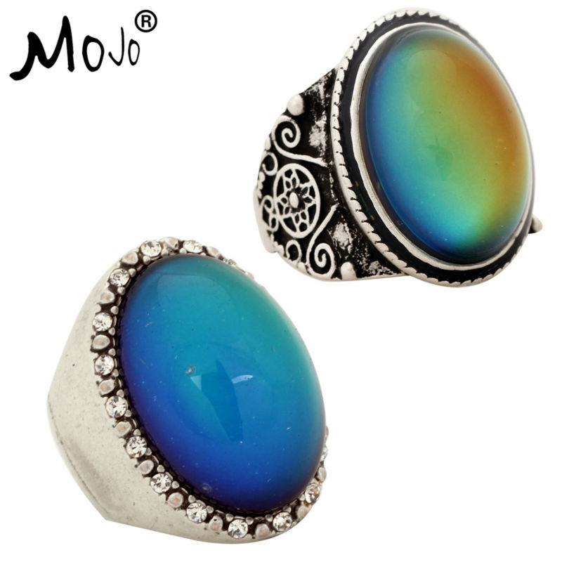 2PCS Antique Silver Plated Color Changing Mood Rings Changing Color Temperature Emotion Feeling Rings Set For Women/Men 004-027