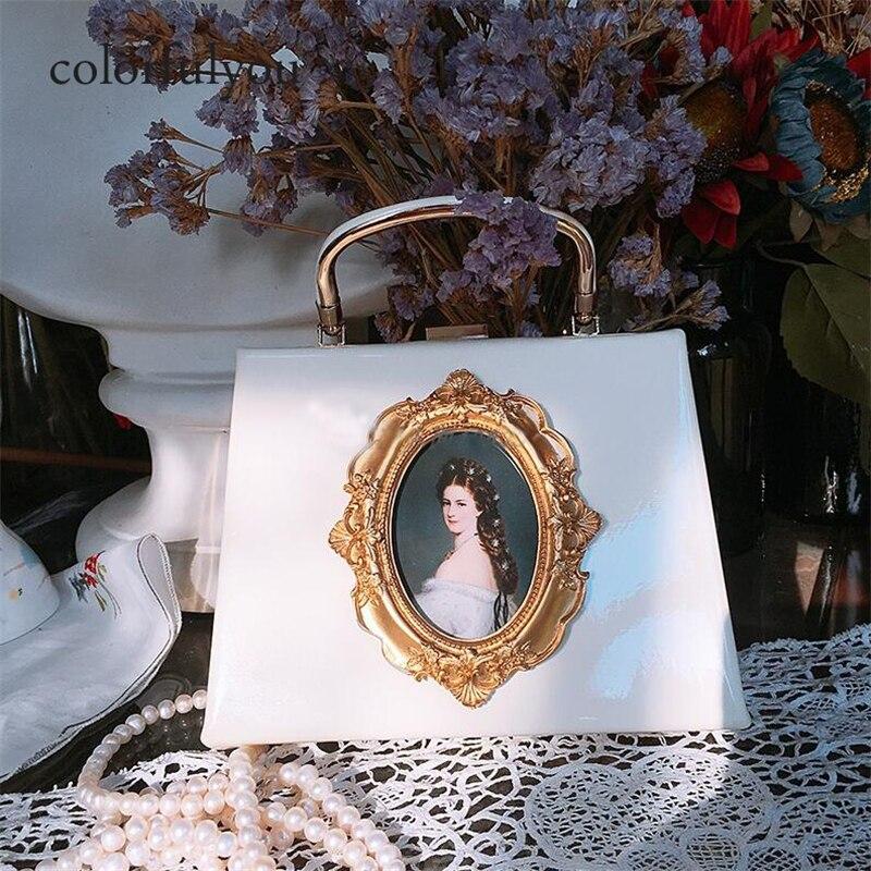 2019 femme peinture à l'huile sac à main femmes gaufrage vintage sac à bandoulière en cuir synthétique polyuréthane perle chaîne messenger sac partie dîner Antique sac