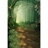 Butterfly Fairy Tale Photography Background Studio Newborn Backdrop Green Forest Backdrops CM 4947