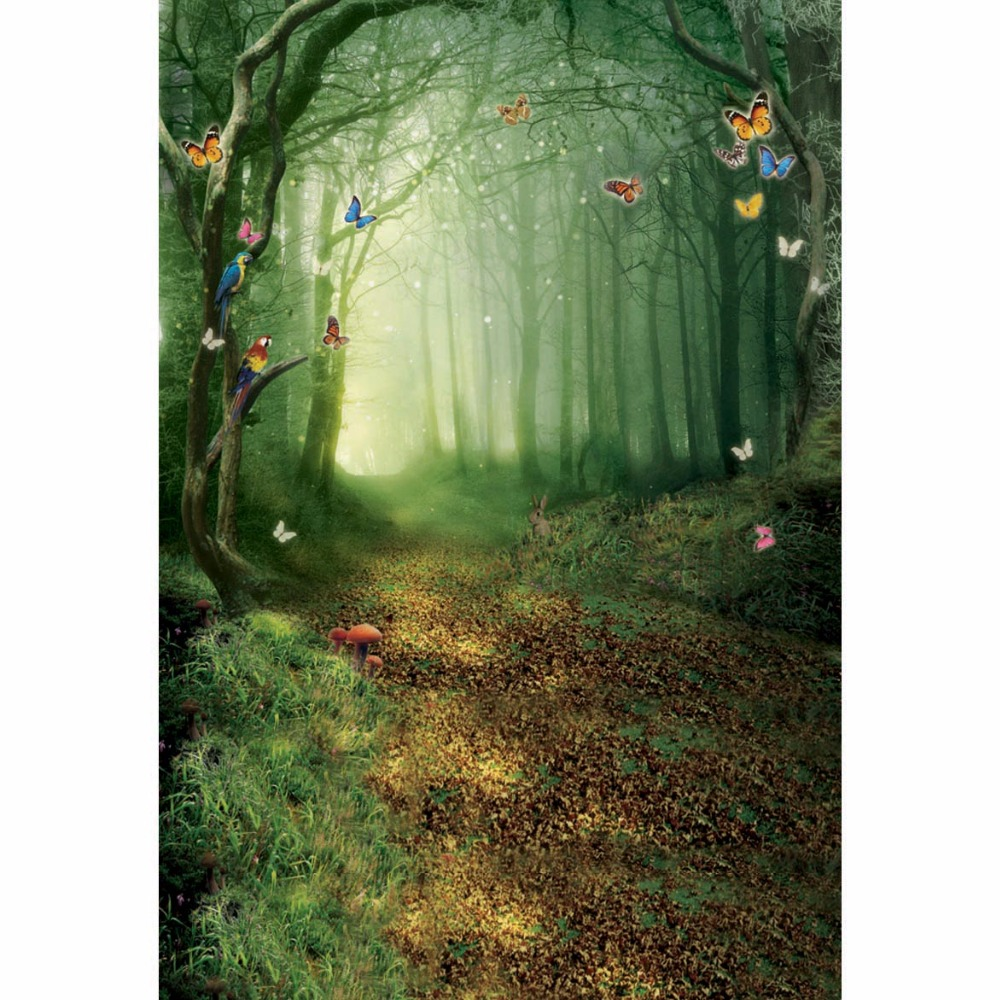 butterfly fairy tale Photography Background studio newborn Backdrop green forest backdrops CM-4947 vinyl photography background fairy tale