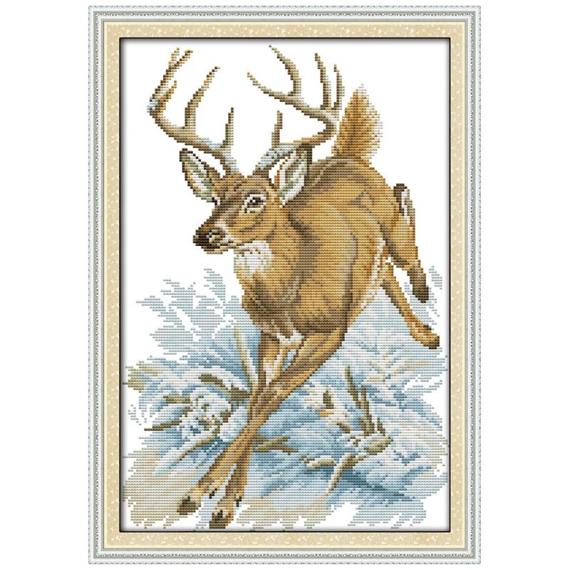 ᗗCorrer ciervos patrón contado Cruz puntada hecha a mano 11ct 14ct ...