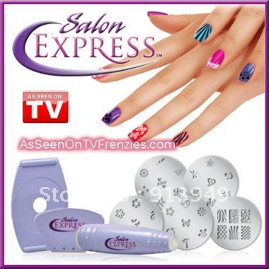 Professional Nail Art Stamping Kit Finger Stencil Salon Express