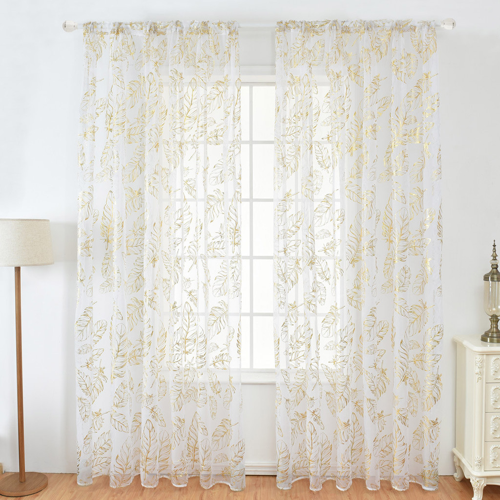 1PC Elegant Gold/Silver Feather Curtain Delicate Tulle Window Voile Fabric Drape Valance Curtains For Home Decoration 100x200cm