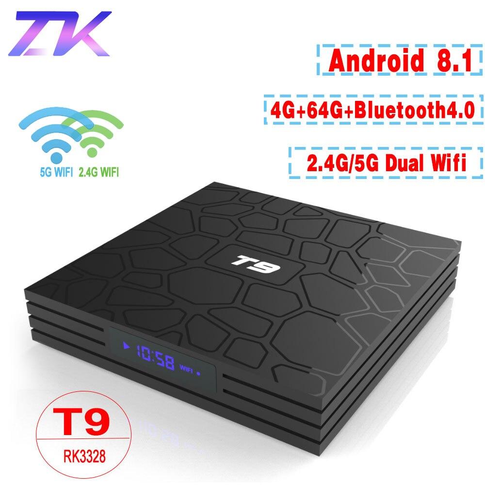 T9 TV Box Android 8.1 4 gb 64 gb RK3328 Quad-Core 4 k HD Wifi BT4.0 USB3.0 Smart TV Box 4 k Play Store di Google Netflix Youtube Scatola TV