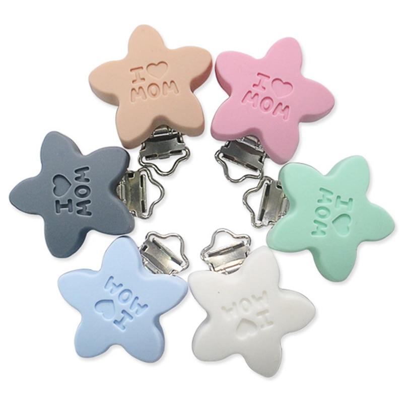 Baby Pacifier Clip Pacifier Teeth Gel Star Silicone Safety Bracket Drop Cute Clip Newborn Baby Feeding Supplies Dummy Cute Toys