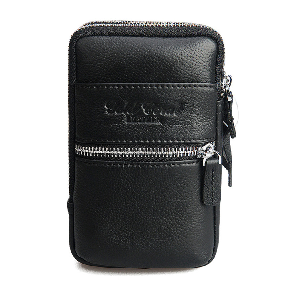 New Men Genuine Leather Fanny Pack Belt Hip Bum Waist Bag Travel Fashion Designer Cell/Mobile Phone Case Cigarette Coin Purse