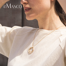 e-Manco Cross Circle Pendant Necklace 925 Silver Pendant Necklace Women Fine Jewelry Gold Link Chain Double Circle Necklace