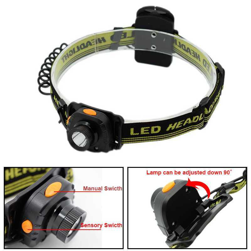 Infrared IR Sensor Headlamp Inductive Head Torch XPE-R3 LED Headlight Frontal Flashlight for Fishing Hunting Camp by AAA Battery r3 2led super bright mini headlamp headlight flashlight torch lamp 4 models