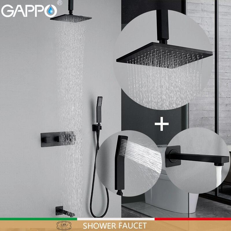 GAPPO Shower Faucets black bathroom shower mixer taps bath rainfall shower set wall mounted bath tub faucet