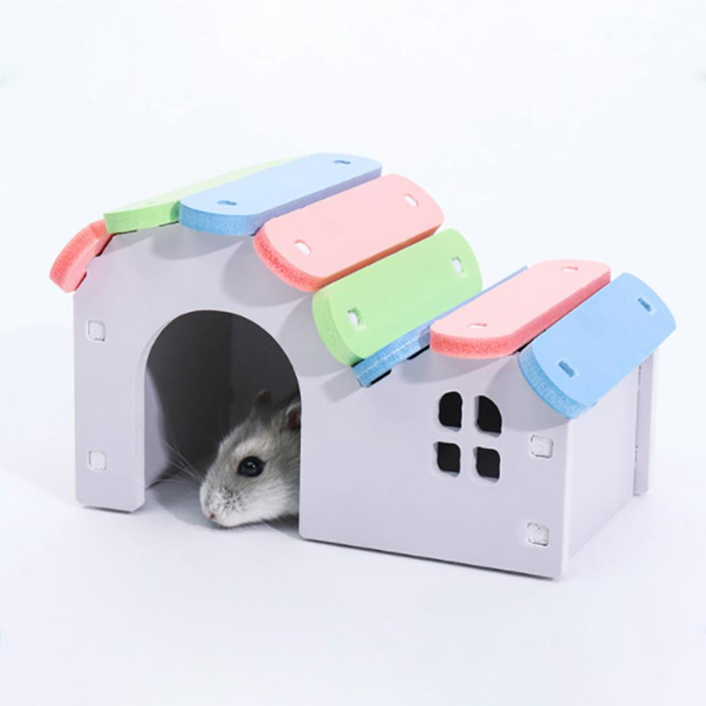 Saideng Wooden Pet Hamster Colorful Round Slide Balcony House Bed Cage Nest Pet Toy 25 Cages Home & Garden