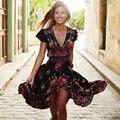 Boho Vestido de Verão Das Mulheres Do Vintage Étnico Floral Impressão V pescoço Festa Longo Maxi Dress Casual vestido largo feminino robe longue WYZ7182