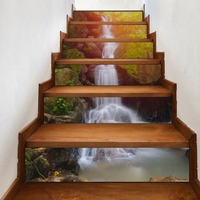 6pcs / set Creative DIY 3D Staircase Sticker Mountain Stream Pattern House Staircase Decoration Large Staircase Wall Stickers